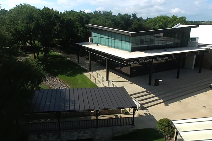 The drone can capture unique angles of our campus, like this one of the Martin Center, taken on a bright September morning.