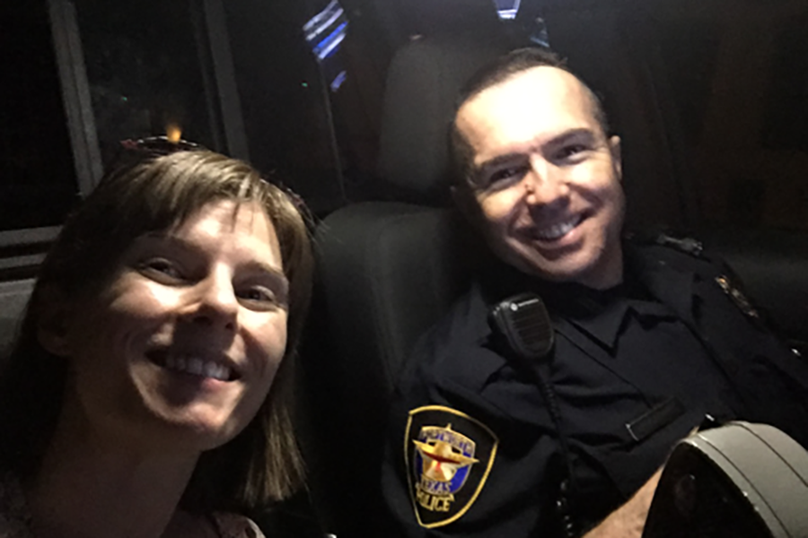 US+art+teacher+Lauren+Cunningham+and+Fort+Worth+Police+Officer+Armendiaz+take+a+selfie+during+Cunningham%27s+ride-in+experience.+