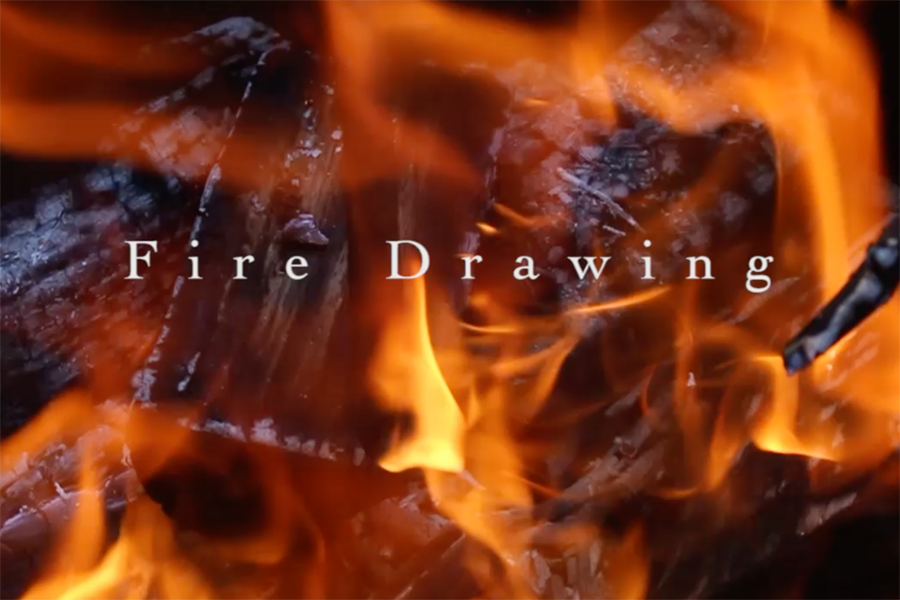 Art students used fire to create art.